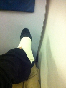 My Louboutin-wounded ankle from stepping out of the taxi with about 27 wooden hangars, after my NY event