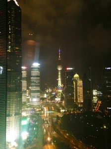 The Shanghai skyline from Four Seasons Pudong infinity pool